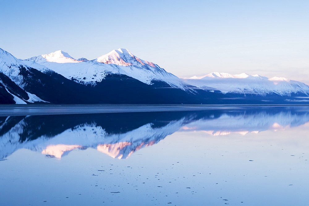 Snow Covered Mountains Across Turnagain Arm In Springtime, Near Mile 87 Of The Seward Highway, Alaska, United States Of America