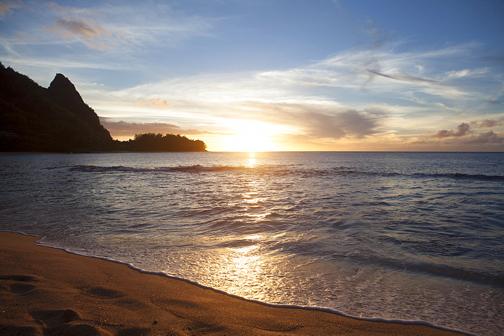 Sunset, Tunnels Beach, Also Known As Haena Beach, With View Of Napali Coast, North Shore, Kauai, Hawaii, United States Of America