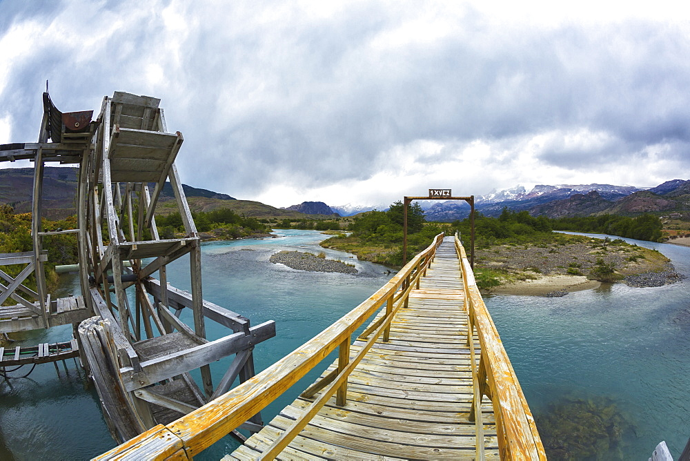 Single Person Bridge At Estancia Christina Near Upsala Glacier In Los Glaciers National Park In Argentine Portion Of Patagonia, El Calafate, Santa Cruz Province, Argentina