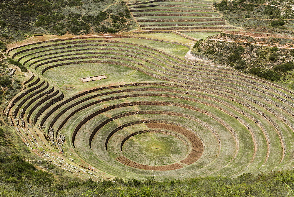 Circular Terraces Of Moray, Town Of Maras In Sacred Valley Of Peru, Moray, Cusco, Peru