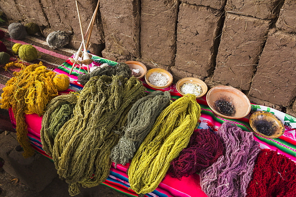 In Amaru Community Of Sacred Valley Near Urubamba, Traditional Native Dyes Used On Wool, Urubamba Province, Cusco, Peru