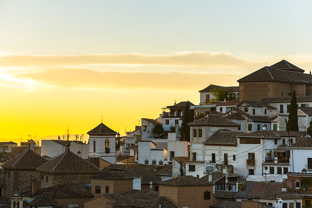 Beautiful Sunset In Albaicin Neighbourhood, Granada, Andalucia, Spain
