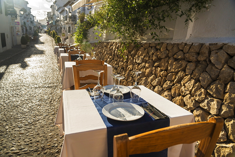 Tables For Dining Along A Street In The Beautiful Town Of Altea In Costa Blanca, Altea, Alicante, Spain