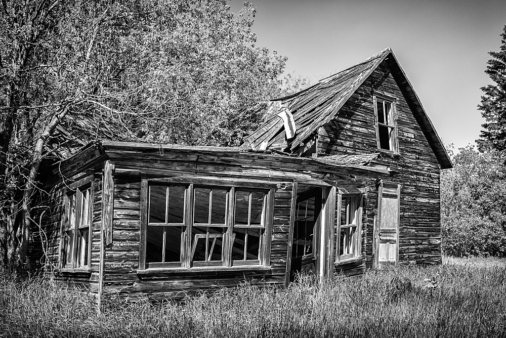 Weathered Wooden Farmstead In The Country, Winnipeg, Manitoba, Canada