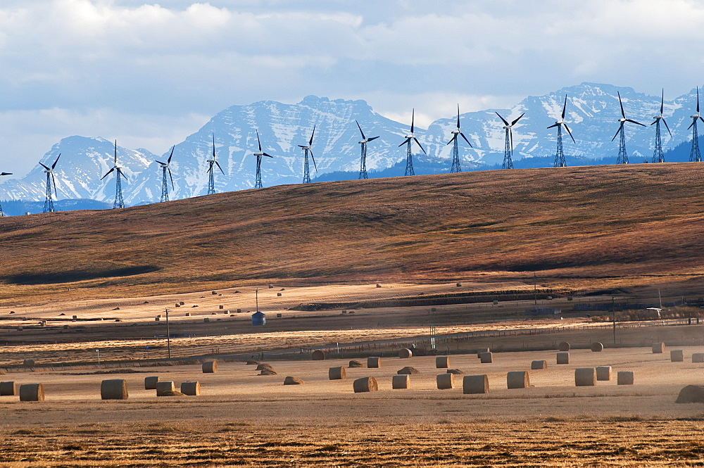Wind Turbines In A Row With Hay Bales In The Foreground And The Canadian Rockies In The Background, Pincher Creek, Alberta, Canada