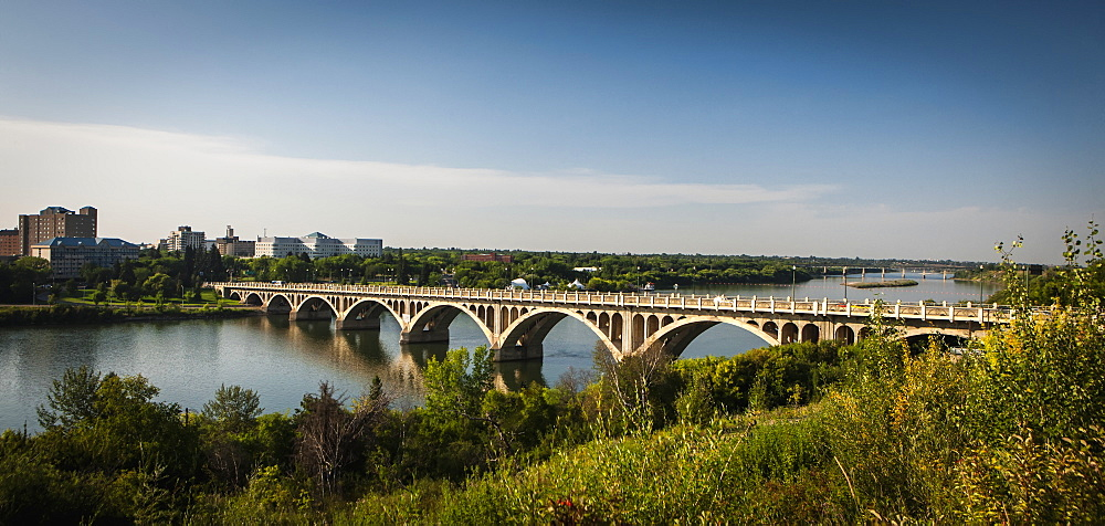 Bridge Crossing The South Saskatchewan River, Saskatoon, Saskatchewan, Canada
