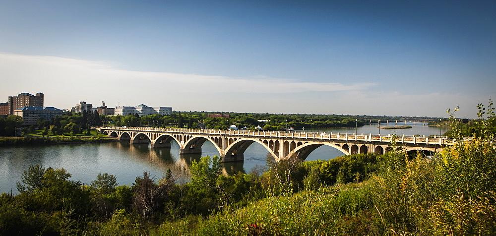 Bridge Crossing The South Saskatchewan River, Saskatoon, Saskatchewan, Canada