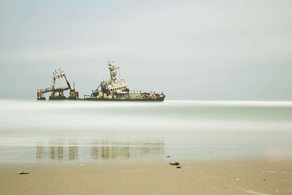 Long Exposure Of An Unnamed Shipwreck Along The Skeleton Coast, Namibia