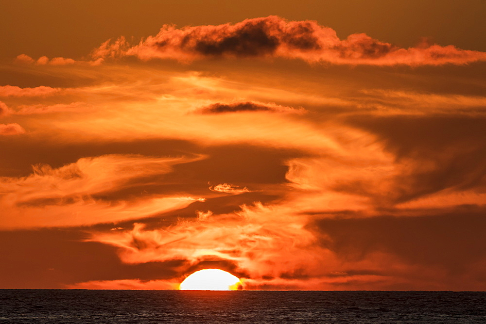 The Setting Sun Observed From The Kona Coast, Kona, Island Of Hawaii, Hawaii, United States Of America