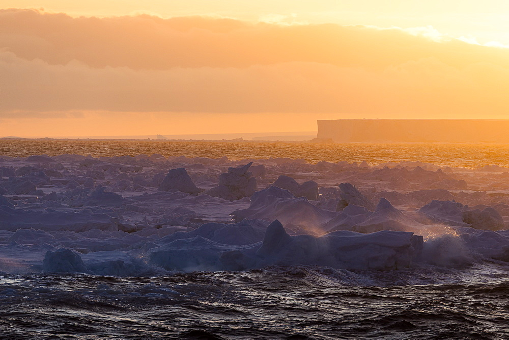 Tabular Iceberg At Sunrise, Antarctica