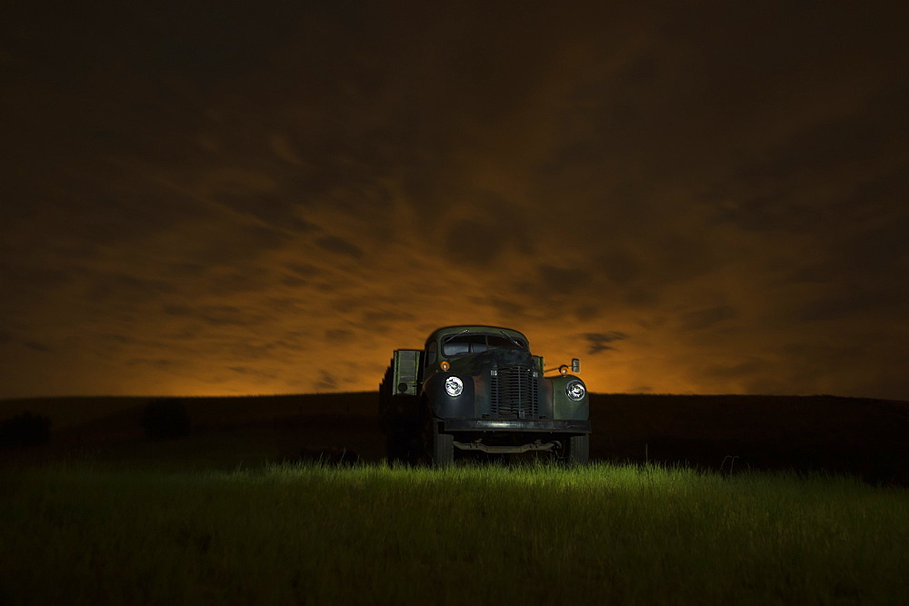 A Vintage Truck In A Grass Field At Sunset, Palouse, Washington, United States Of America