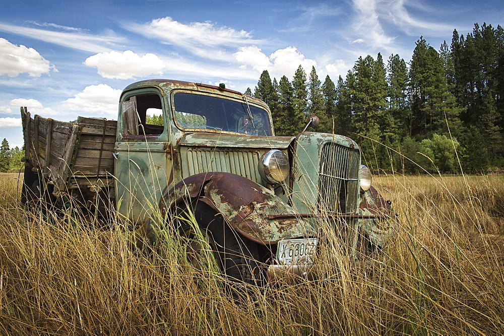 A Vintage Truck Abandoned In A Field, Palouse, Washington, United States Of America