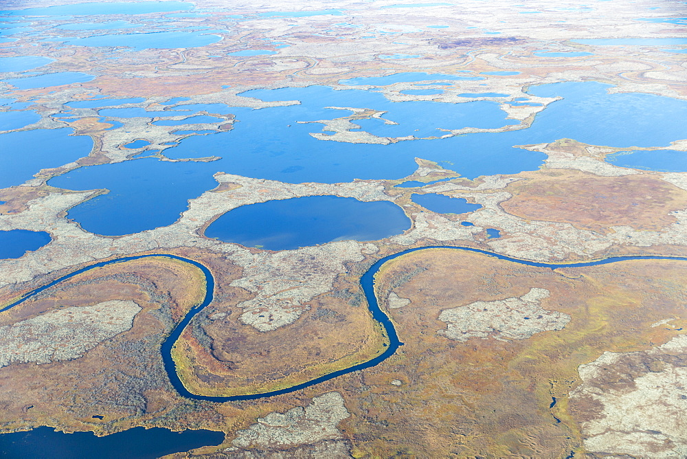Aerial View Of A Stream That Runs Through A Tundra Landscape Filled With Small Ponds, Yukon Delta, Arctic Alaska, Saint Mary's, Alaska, United States Of America