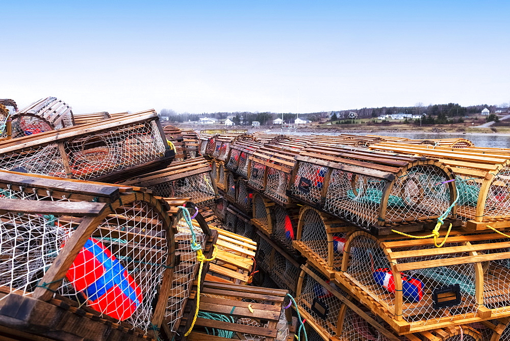 Lobster Traps Stacked On The Wharf, Ingonish, Cape Breton, Nova Scotia, Canada