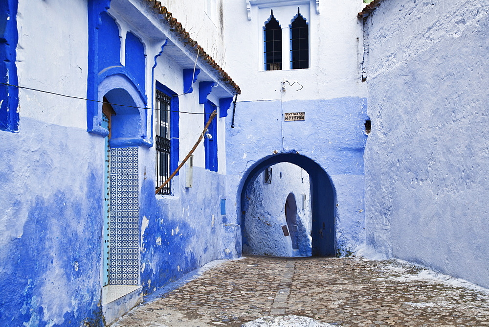Blue Painted Buildings In The Backstreets Of Chefchaouen Medina, Chefchaouen, Morocco