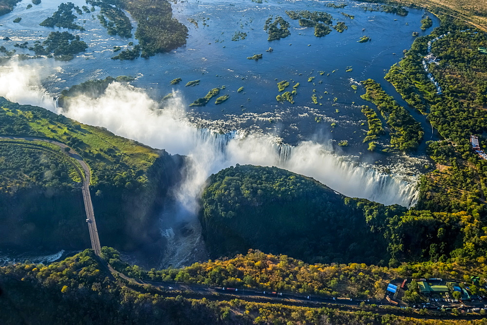 Aerial View Of Victoria Falls Behind Road, Botswana