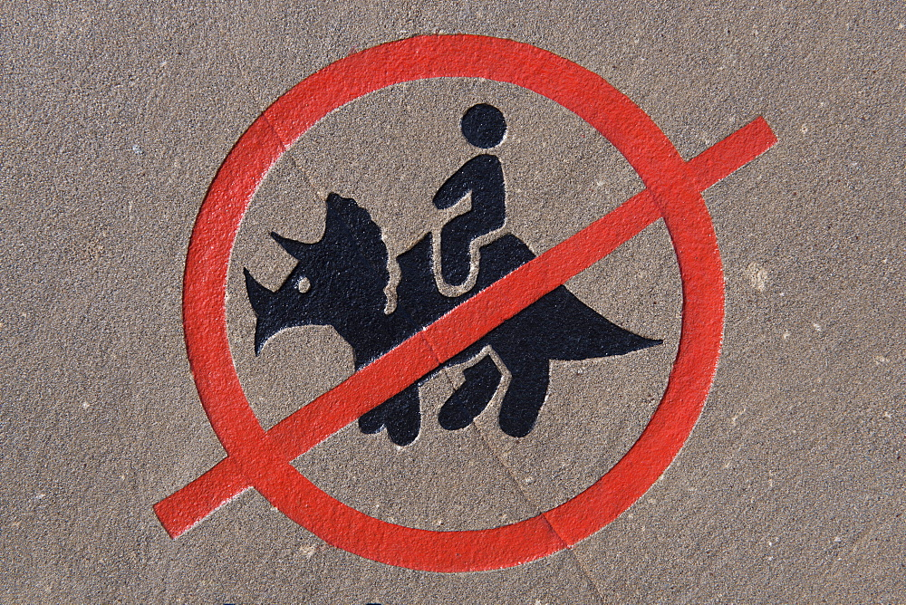 A No Dinosaur Riding Permitted Sign, Drumheller, Alberta, Canada
