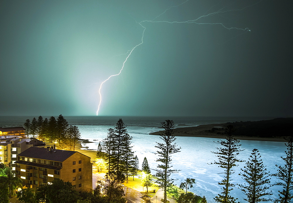 A Lightning Strike Hits The Surface Of The Water In The Distance, Brisbane, Queensland, Australia