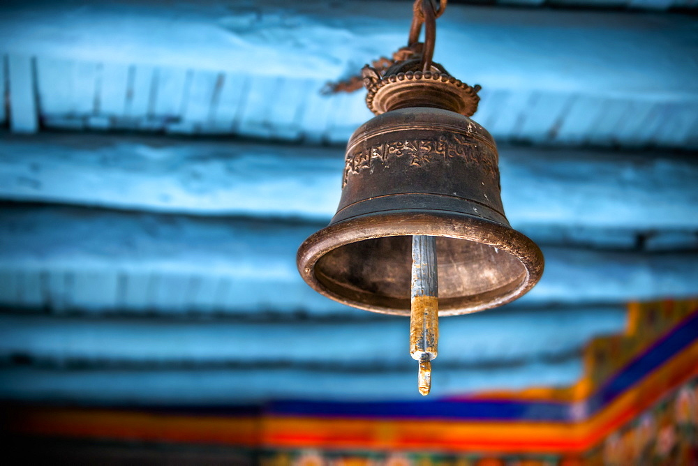 A Old Brass Bell Hangs In A Tibetan Monastery, Ladakh, India