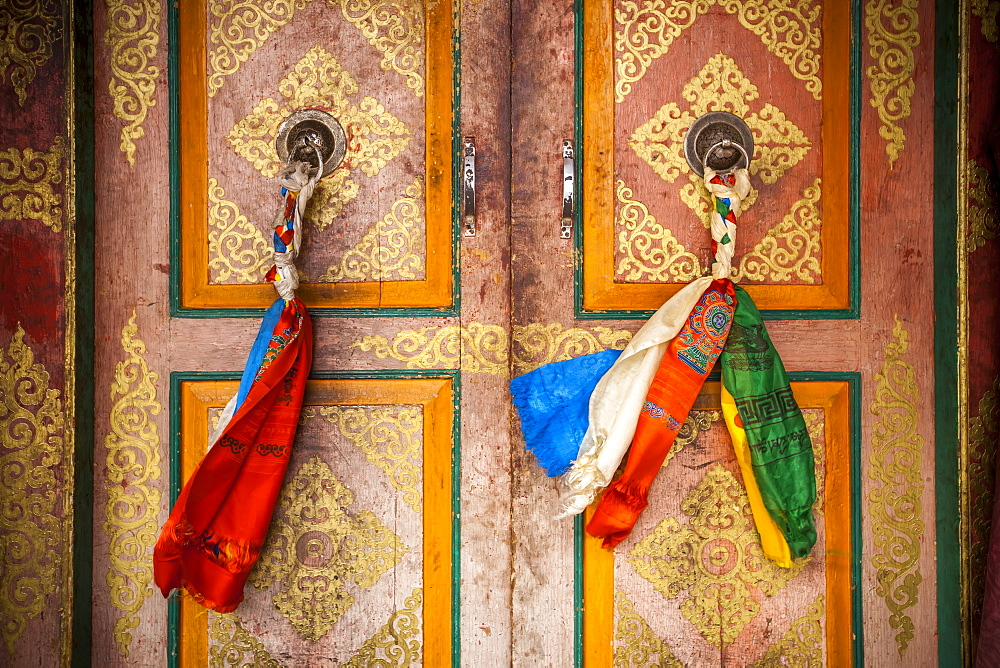 Cloth Is Braided Together To Create A Decorated Door Pull On The Doors On A Tibetan Style Monastery, Ladakh, India