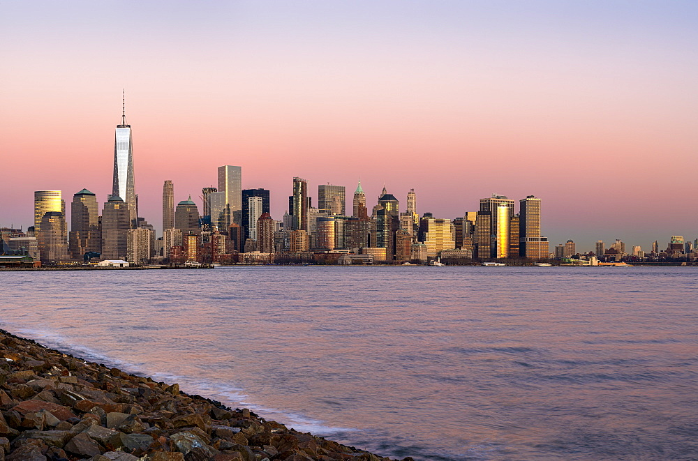 New York City Skyline At Sunset, Liberty State Park, Jersey City, New Jersey, United States Of America