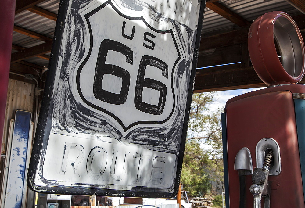 Route 66 Sign And Old Gas Pump, Seligman, Arizona, United States Of America
