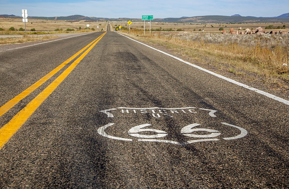 Route 66 Logo Painted On The Highway, Arizona, United States Of America