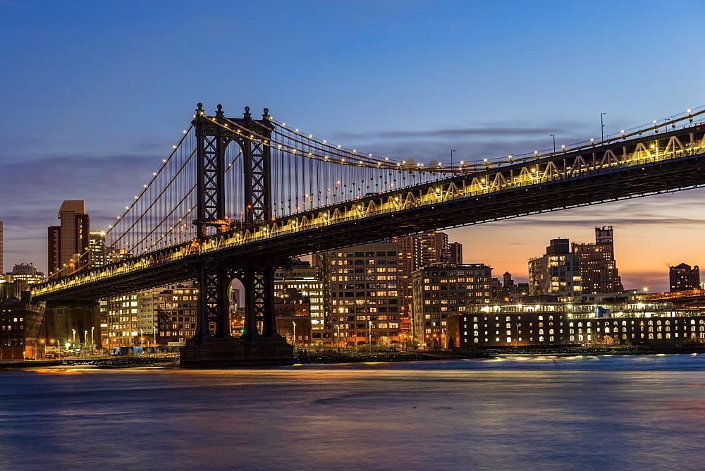 Manhattan Bridge At Twilight, Brooklyn, New York, United States Of America