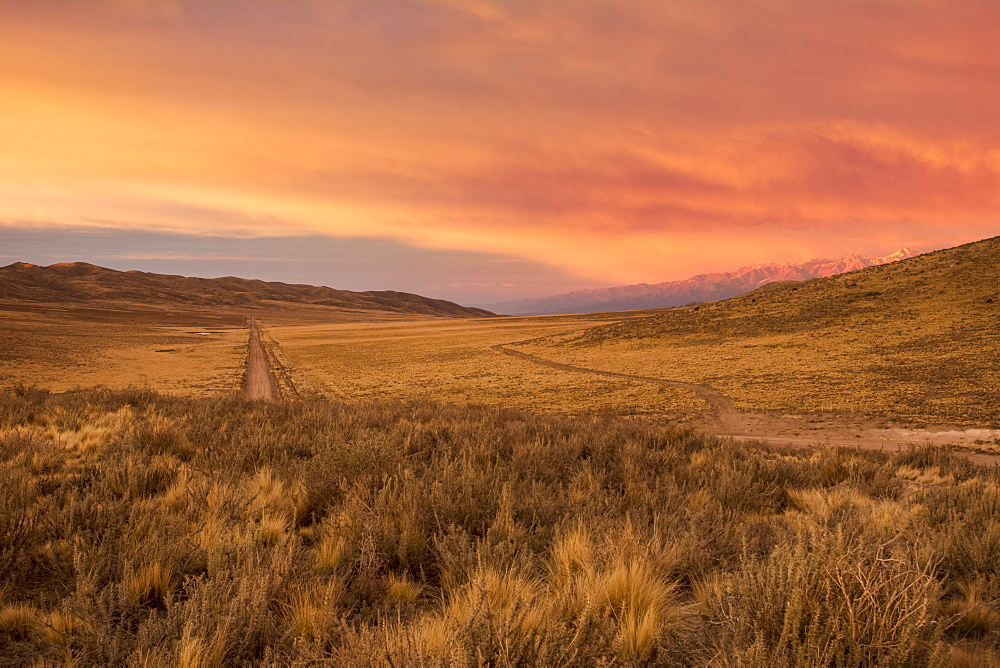 A dirt road leads the eye towards the horizon through bare desert hills. A snow-capped mountain range is visible in the distance. The scene and the clouds are lit by a red early sunrise, Potrerillos, Mendoza, Argentina