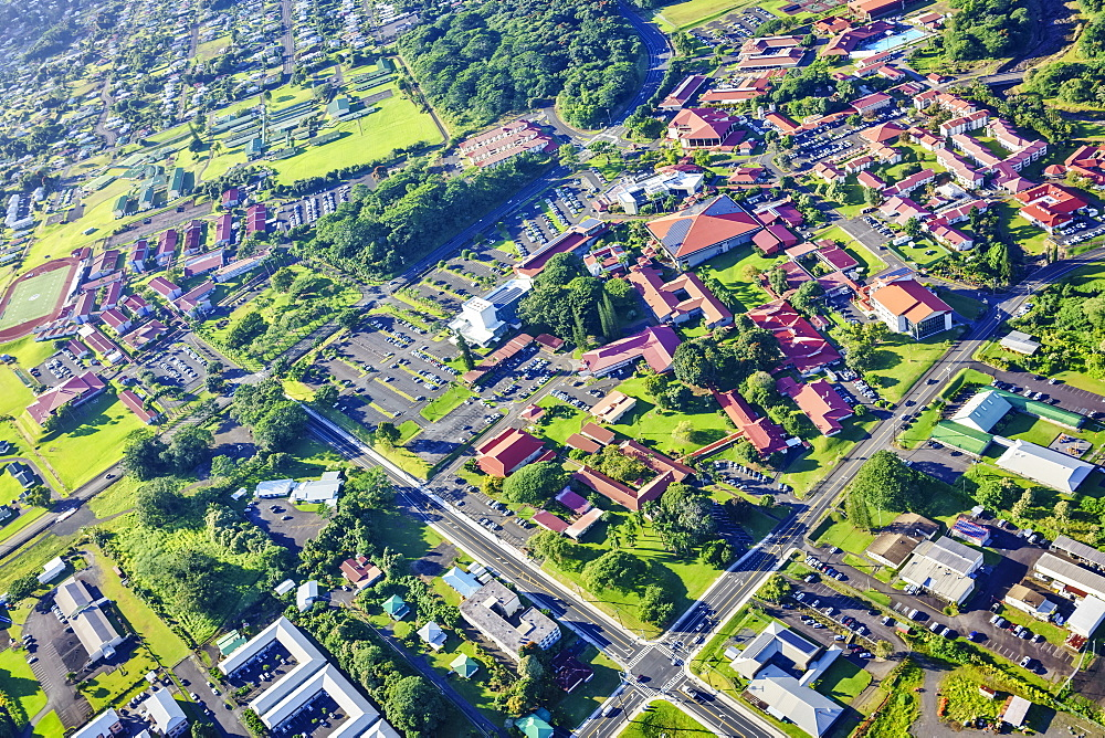 Aerial view of University of Hawaii campus at Hilo, Hilo, Island of Hawaii, Hawaii, United States of America