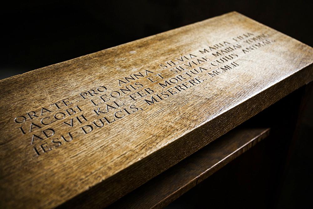 Prayer kneeler (prie-dieu) with latin inscription, York, England