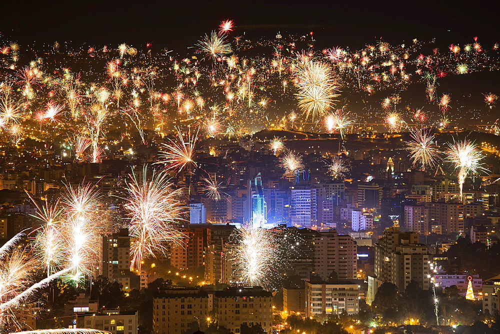 Fireworks Over The City Of Cochabamba At New Years, Cochabamba, Bolivia