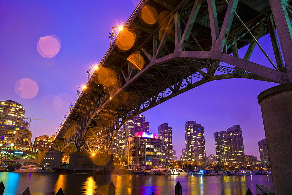 Granville Bridge From Granville Island Looking Across False Creek To Bridgetown, Vancouver, British Columbia, Canada