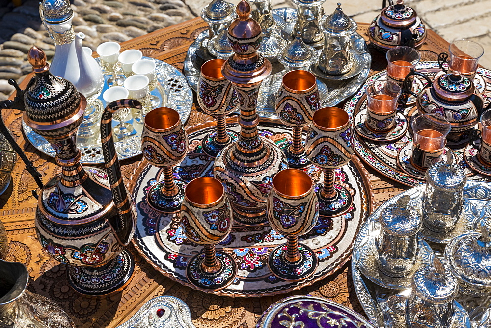Tea Sets, Goblets And Trays For Sale At The Mostar Bridge, Mostar, Bosnia And Herzegovina