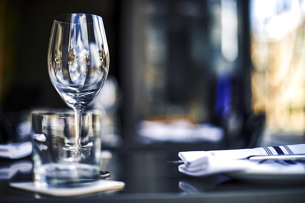 Glass Stemware And A Formal Place Setting On A Restaurant Table, Toronto, Ontario, Canada