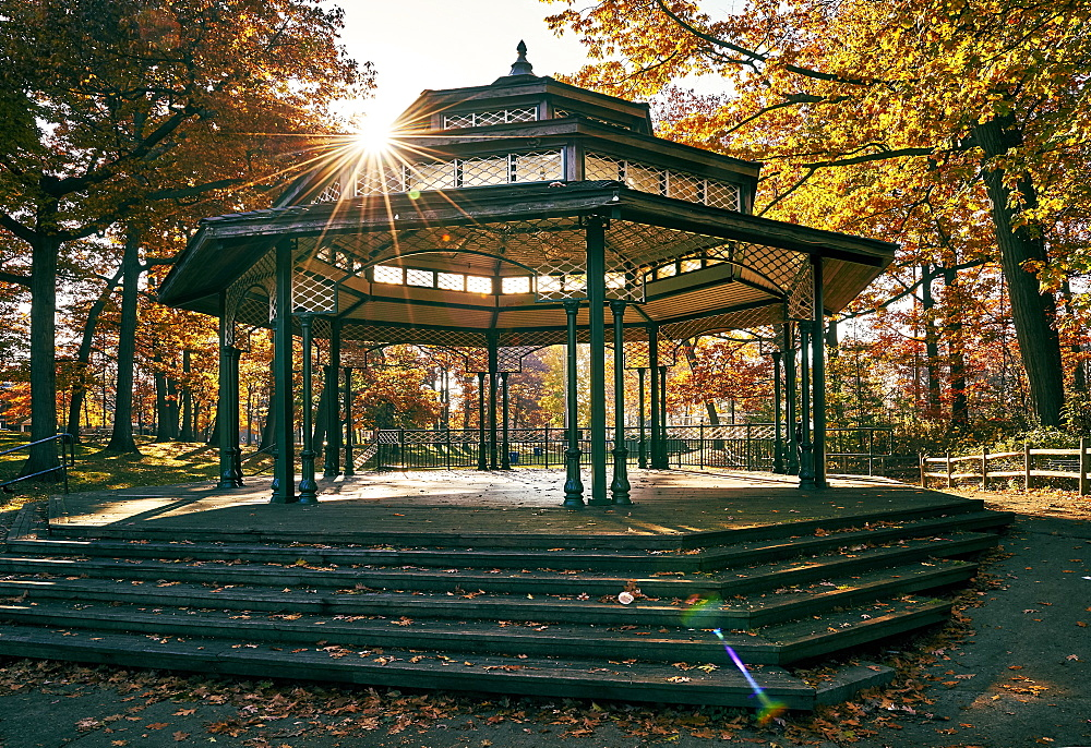 Gazebo And Band Stand In Autumn, Toronto, Ontario, Canada