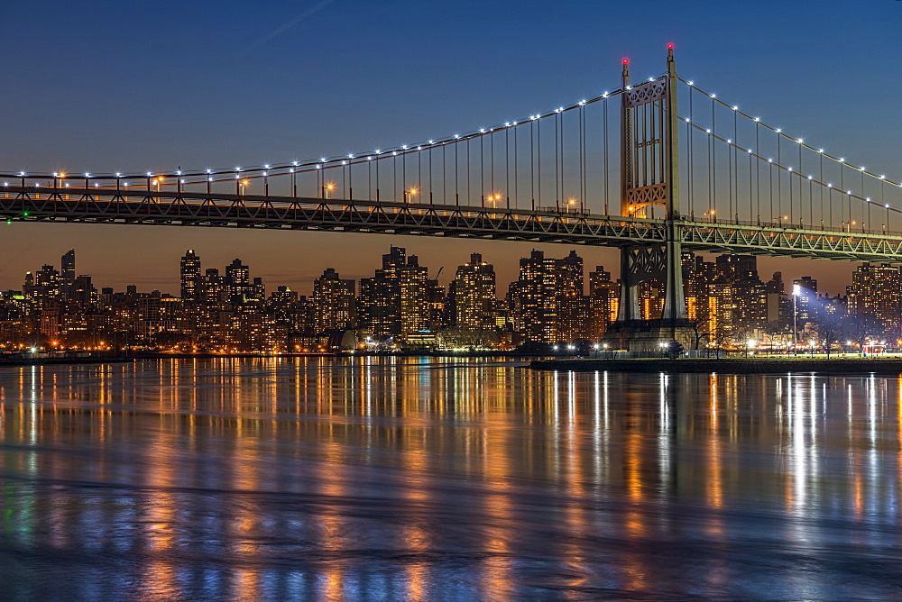 Rfk Triboro Bridge At Twilight, New York City, New York, United States Of America