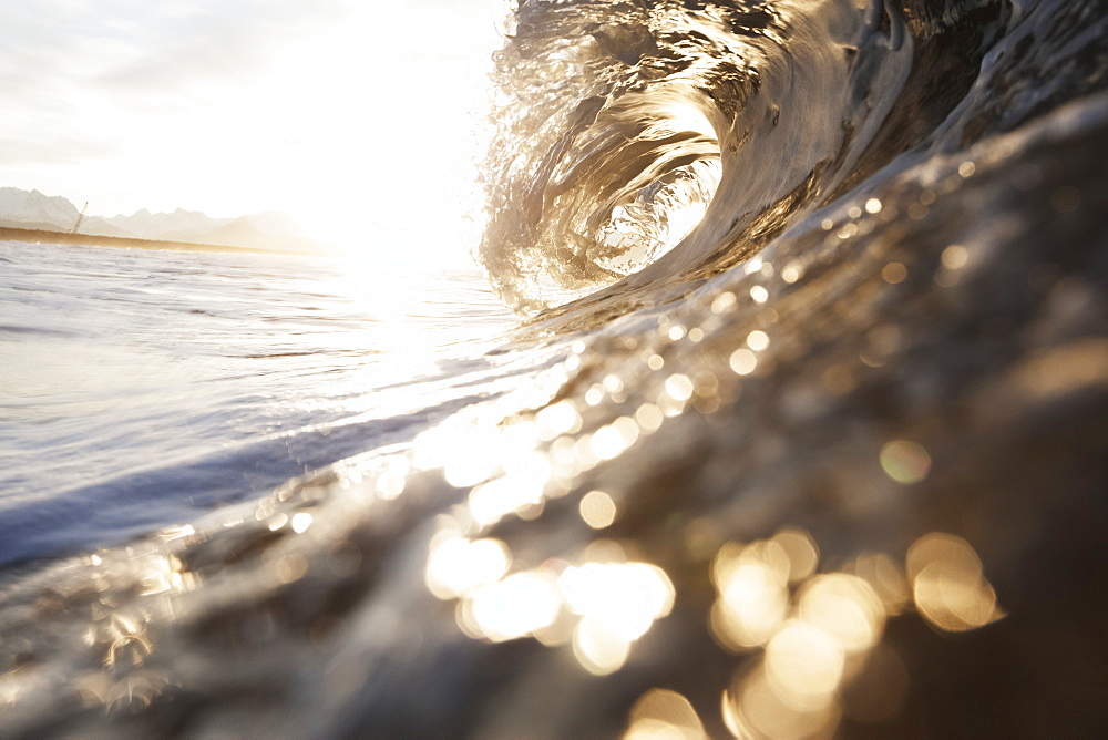 The Barrel Of A Wave Reflects Sunlight On The Ocean, Alaska, United States Of America