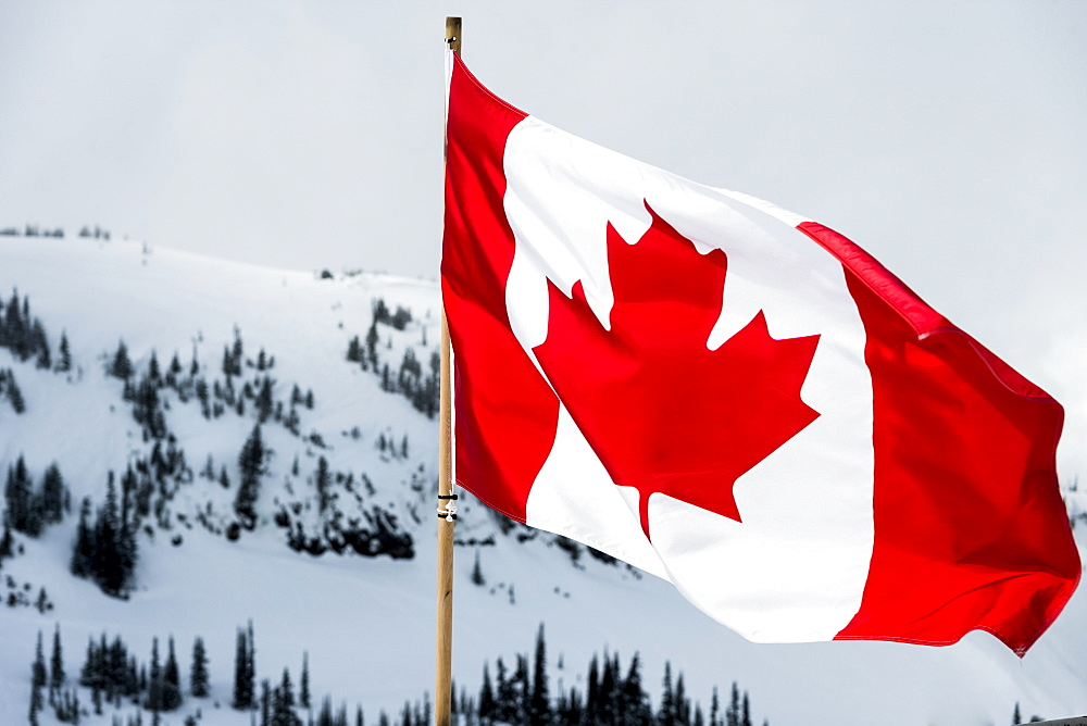A Canadian Flag With Snow Covered Mountains And Trees In The Background, Whistler, British Columbia, Canada