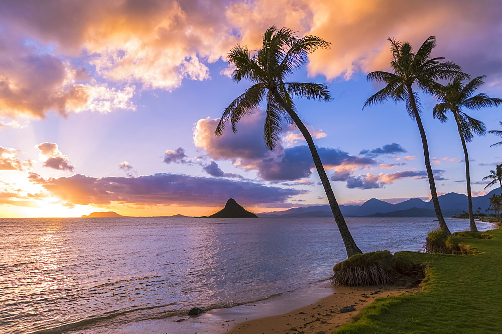 Sunrise At Kualoa Beach Park Overlooking Chinaman's Hat, Kualoa, Oahu, Hawaii, United States Of America