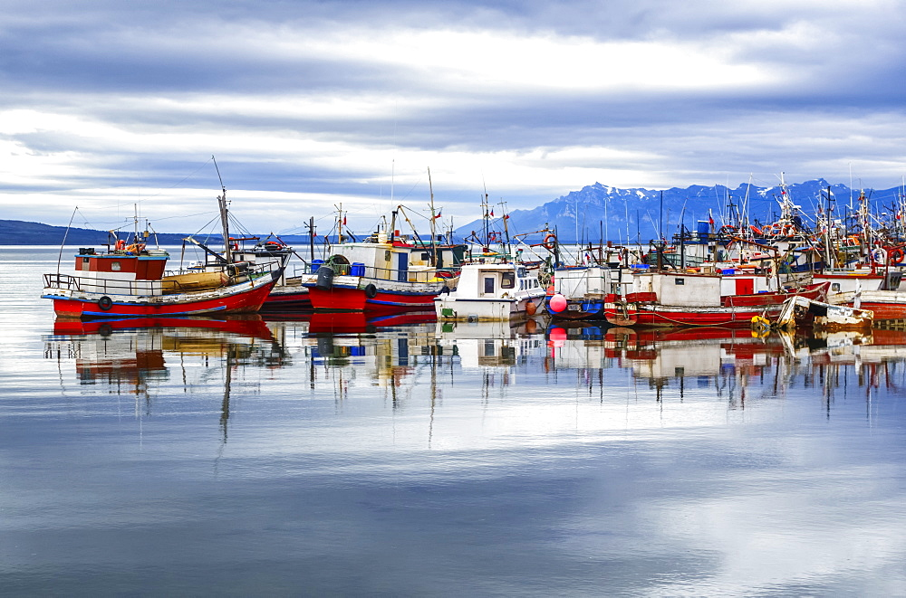 Fishing Boats In A Harbour, Chilean Patagonia, Puerto Natales, Ultima Esperanza, Chile