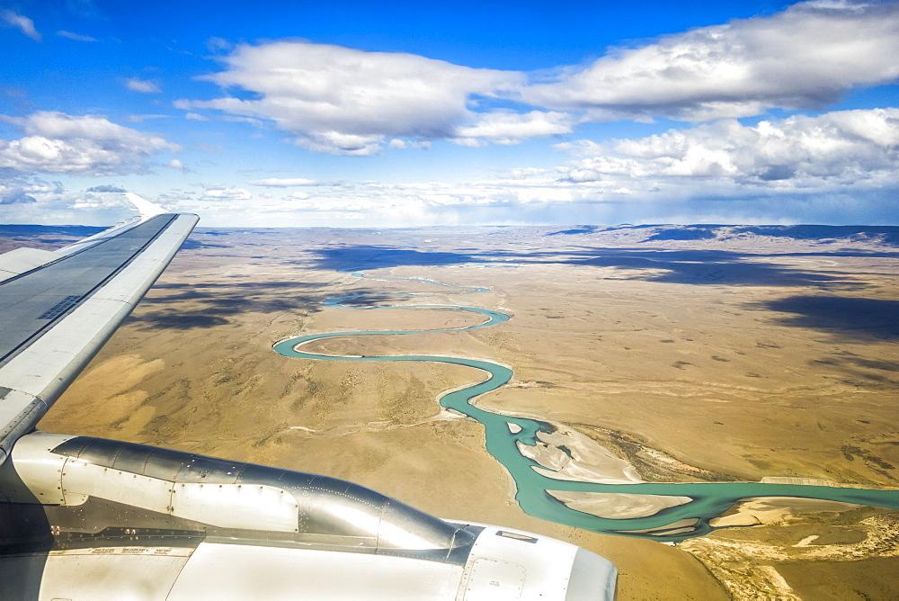 Aerial View Of China River As Plane Lands In El Calafate, Argentinian Patagonia, El Calafate, Santa Cruz Province, Argentina