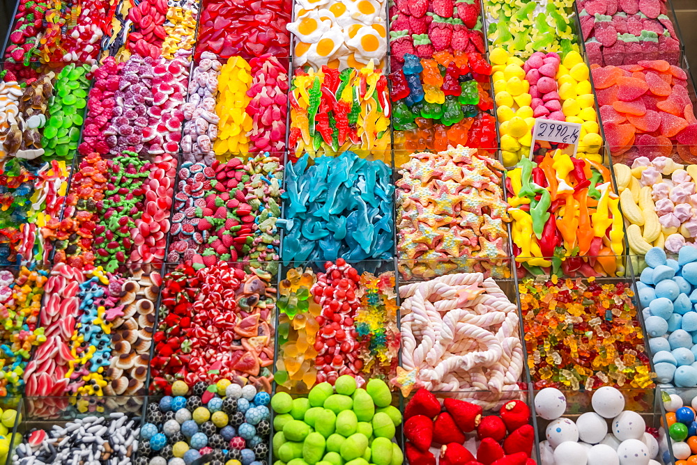 Variety Of Candy At Boqueria Market, One Of The Most Famous Markets Around Spain And The Most Famous In Barcelona, Barcelona, Catalonia, Spain - 1116-47126