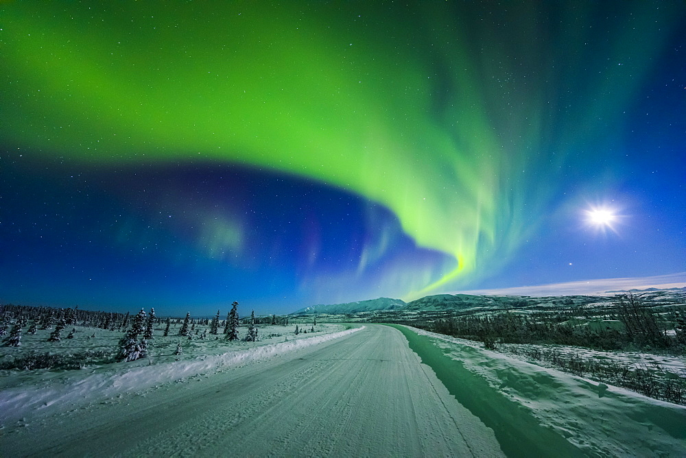 The Moon And Aurora Shine In The Night Sky Over A Snow Covered Richardson Highway South Of Delta Junction, Alaska, United States Of America