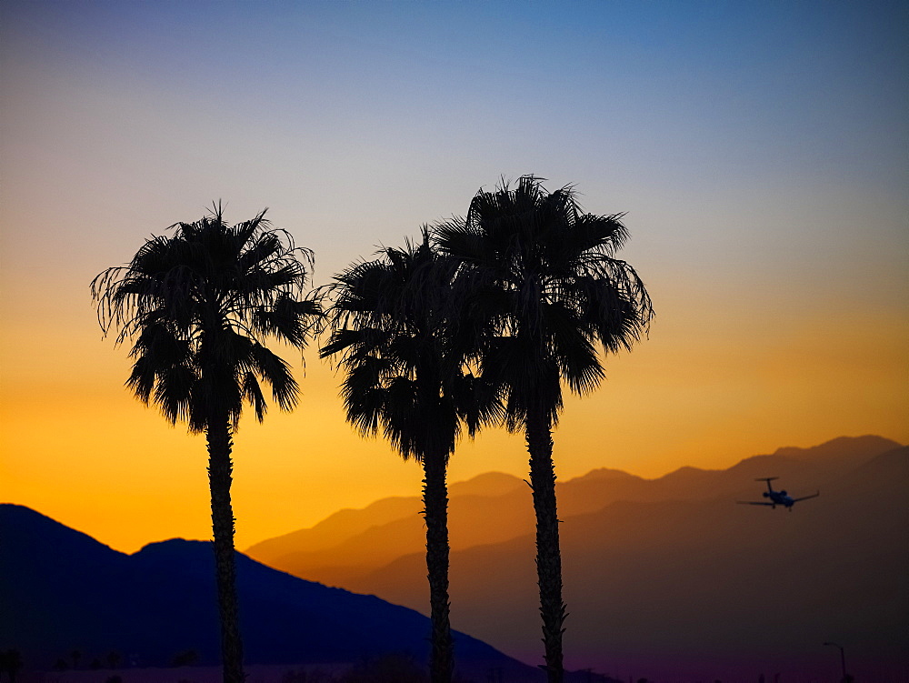 Silhouette Of Three Palm Trees And A Plane In Flight Against Layers Of Silhouetted Mountains At Sunset, Palm Springs, California, United States Of America