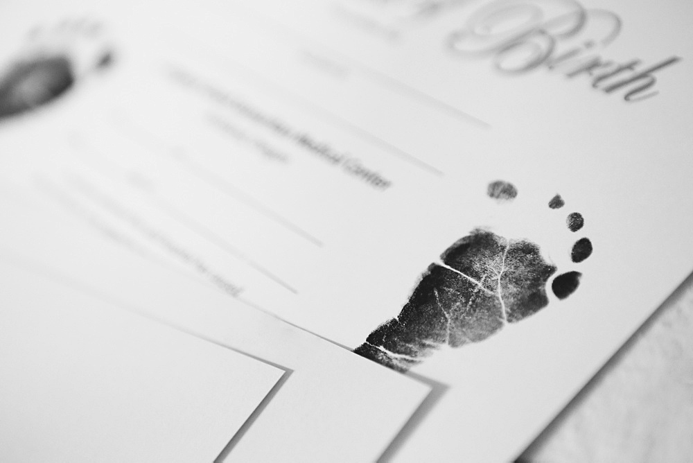 A Baby's Footprint In Ink In A Baby Book, Portland, Oregon, United States Of America