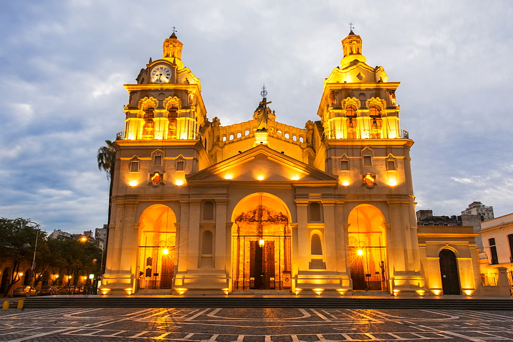 Fully Lit South American Church And Plaza At Dusk, Cordoba, Argentina
