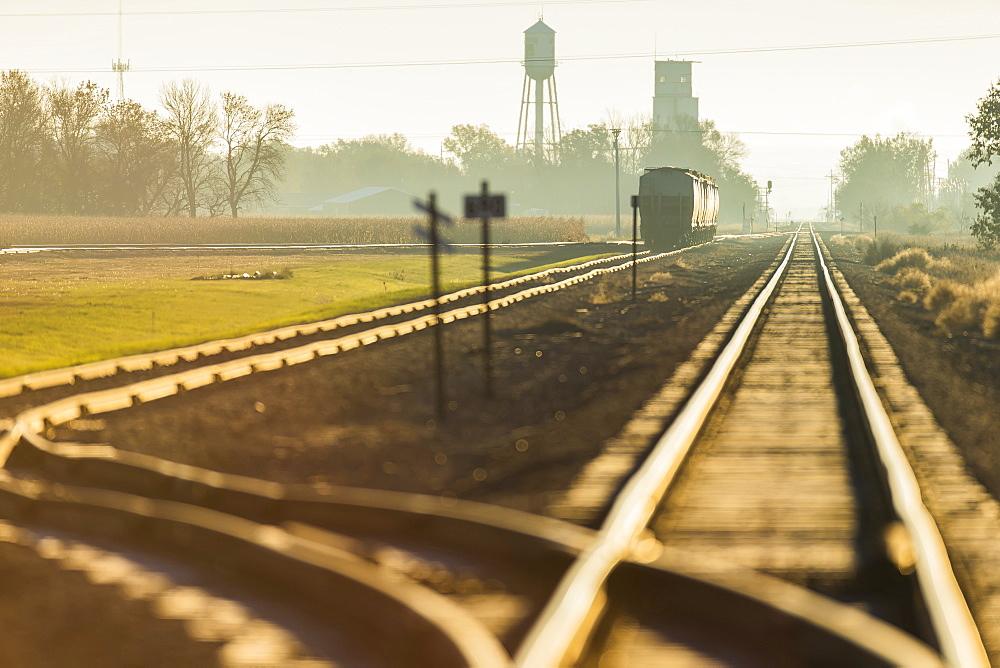 Morning Light On Railroad Tracks Near Groton, South Dakota, United States Of America