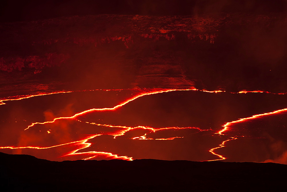 Lava Eruption On Crater Floor, Hawaii Volcanoes National Park, Island Of Hawaii, Hawaii, United States Of America