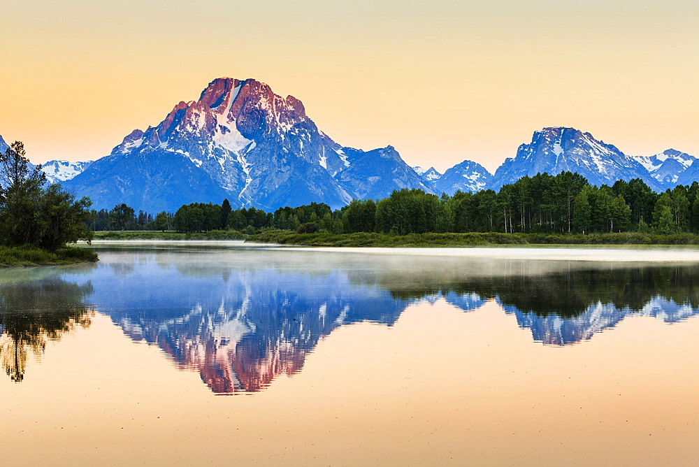 Mount Moran From Oxbow Bend At Dawn, Grand Teton National Park, Wyoming, United States Of America